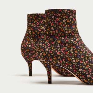 ZARA Floral ankle boots